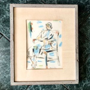 Original/signed ALEX MINEWSKI color chalk 16x18.5